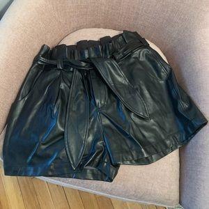 David Lerner faux leather shorts